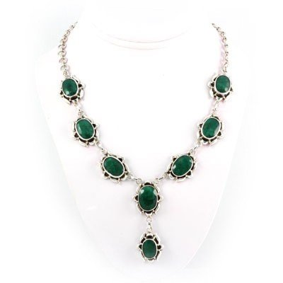 273.5ctw New Design Emerald Silver Necklace