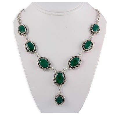 278.5ctw Natural Emerald Fashion Silver Necklace