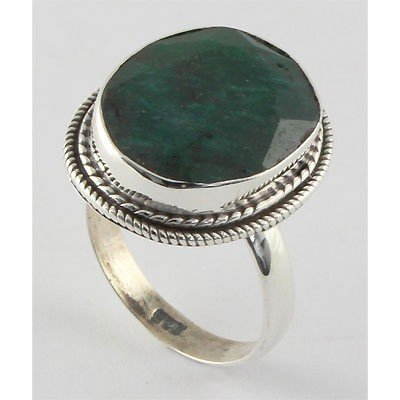 37ctw APPROX Silver Emerald Ring