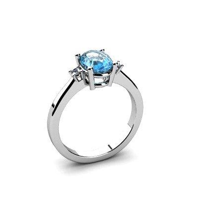 Topaz 1.68 ctw Diamond Ring 14kt White Gold