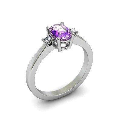 Amethyst 0.49 ctw Diamond Ring 14kt White Gold