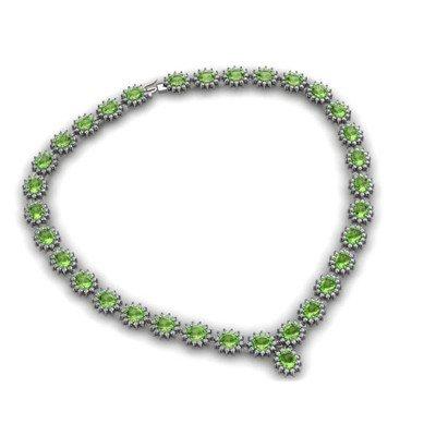 Peridot 52.20 ctw Diamond Necklace 14kt White Gold