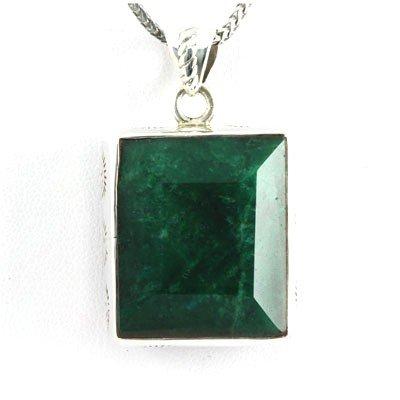 104ctw Plain Silver Emerald Pendant (20x25mm)