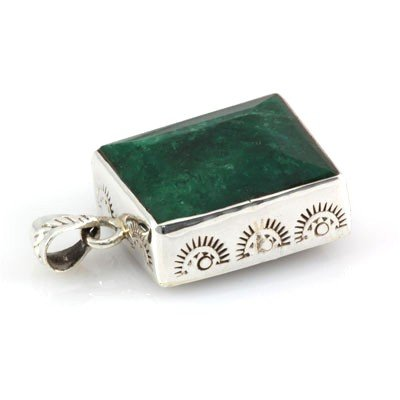 104ctw Plain Silver Emerald Pendant (20x25mm) - 2