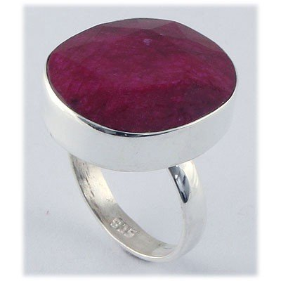 39ctw APPROX Sterling Silver Oval Ruby Ring