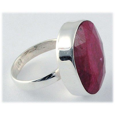 39ctw APPROX Sterling Silver Oval Ruby Ring - 2