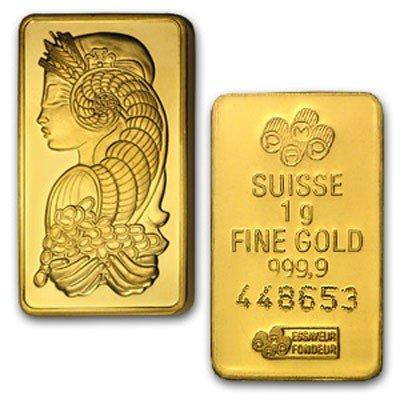 1 Gram Suisse Gold Bar .9999 Fine Gold 24Kt