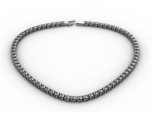 Certified 17.50 ctw Round Brilliant Necklace H, SI 14kt