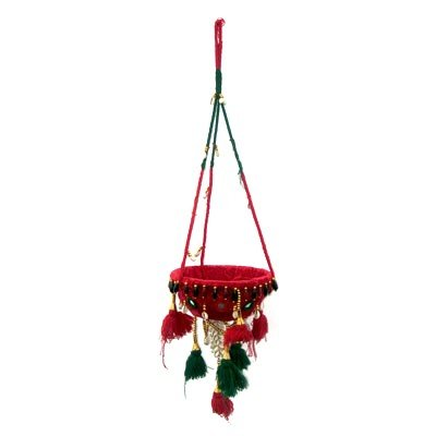 Indian Handmade Clothe Hanging Plant Art Basket Beads