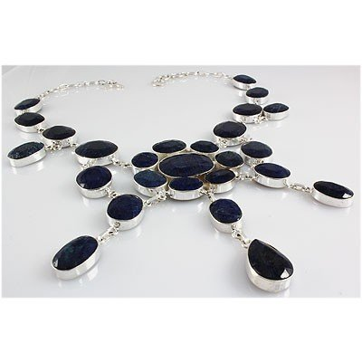 592ctw APPROX Elegant Silver Sapphire Necklace