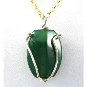 37.ctw Aventurine Green Silver Pendant