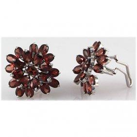 Garnet 23.10 ctw Flower Design Earring 0.925 Silver
