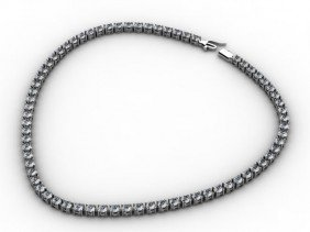 Certified 17.50ctw Round Brilliant Necklace H,SI 14ktWG