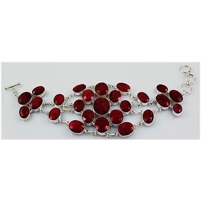 377ctw APPROX Silver Bracelet with Ruby Gemstone