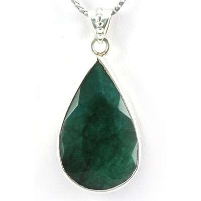 84ctw Natural Pear Emerald Silver Pendant (20x34mm)