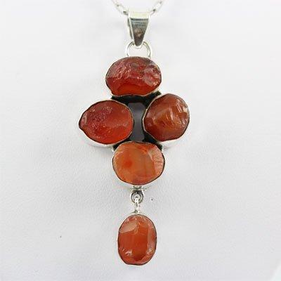 81.ctw Red Orange Silver Pendant