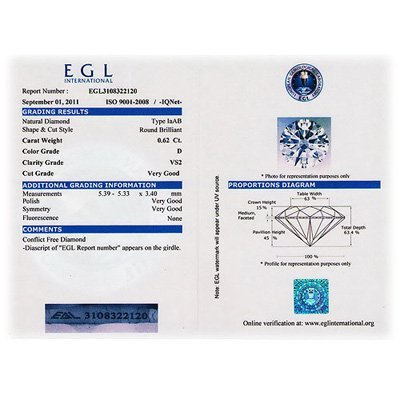 EGL Certified Diamond Round 0.62ctw D,VS2 - 3