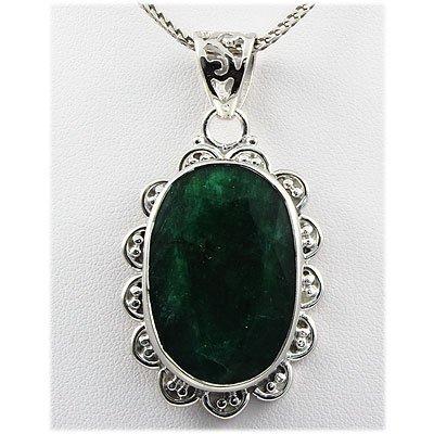 103ctw APPROX Pretty Oval Silver Emerald Pendant