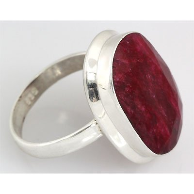 38ctw APPROX Fashionable Ruby Silver Ring Oval Shape