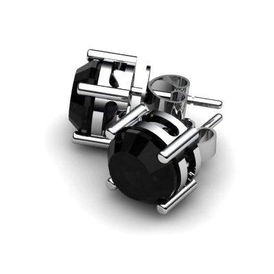 Black Diamond 2.50ctw Earring 14kt White Gold