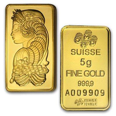 5 Gram Suisse Gold Bar .9999 Fine Gold 24K
