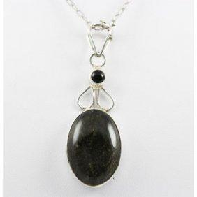 38.5ctw Gold Sheen & Black Onyx Silver Pendant