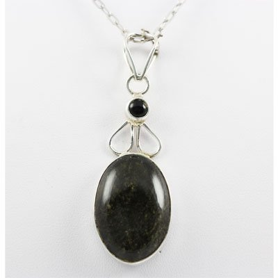 38.5ctw Gold Sheen & Black Onyx Silver Pendant