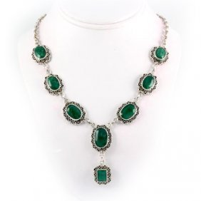 284ctw Antique Design Emerald Silver Necklace