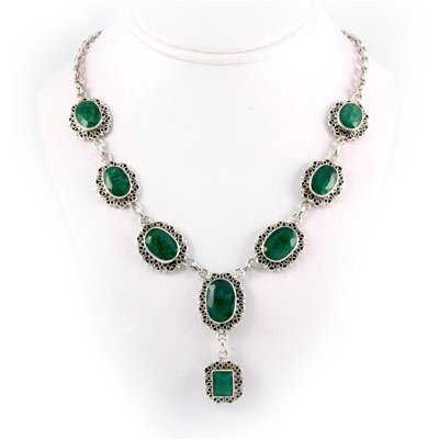 284ctw Antique Design Emerald Silver Necklace
