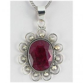 58ctw APPROX Silver Oval Shape Ruby Pendant