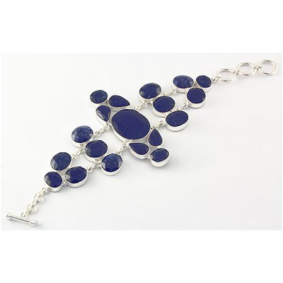 293ctw APPROX Silver Bracelet with Sapphire Gemstone