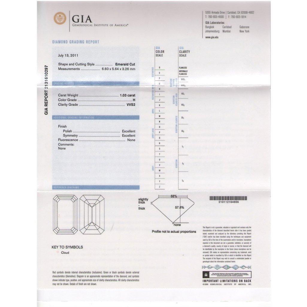 GIA 1.03ctw Certified Emerald Brilliant Diamond H,VVS2 - 2