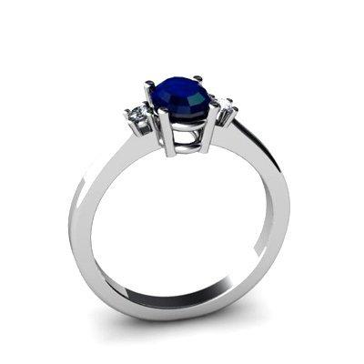 Sapphire 0.64 ctw Diamond Ring 14kt White Gold