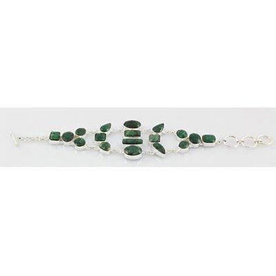 217ctw APPROX Natural Emerald Gemstone Silver Bracelet