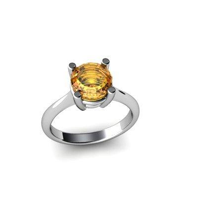 Citrine 1.3ctw Ring 14kt White Gold