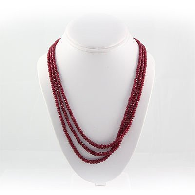 276.5ctw Natural 3Row Ruby Beads Necklace