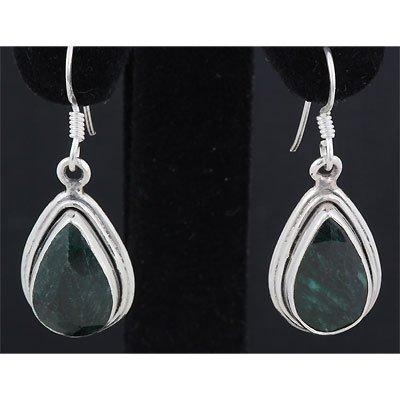 38ctw APPROX Dangling Silver Earring Emerald Gemstone