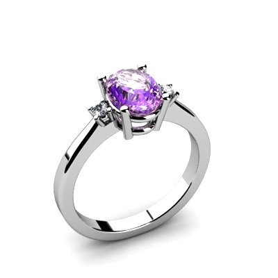 Amethyst 1.33 ctw Diamond Ring 14kt White Gold