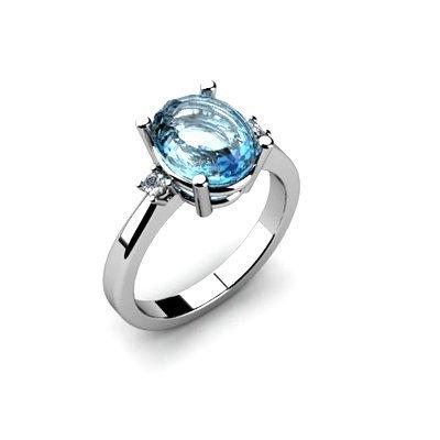 Aqua Marine 2.41 ctw Diamond Ring 14kt White Gold