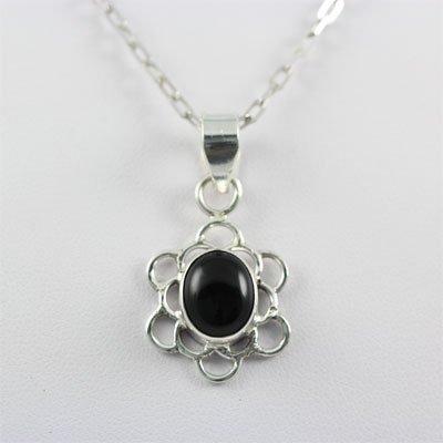 18.ctw Black Onyx Gemstone Silver Pendant