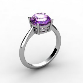 Amethyst 1.80 Ctw Ring 14kt White Gold