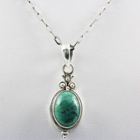 20.ctw Turquoise Silver Pendant