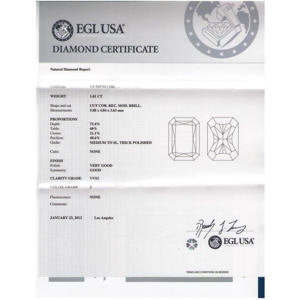 EGL USA 1.01ctw Certified RadiantBrilliant Diamond F,VV - 2