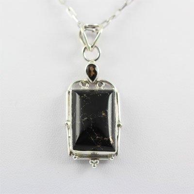 31.ctw Black Onyx Gemstone Silver Pendant