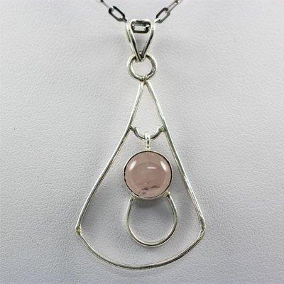 17.ctw Rose Quartz Silver Pendant