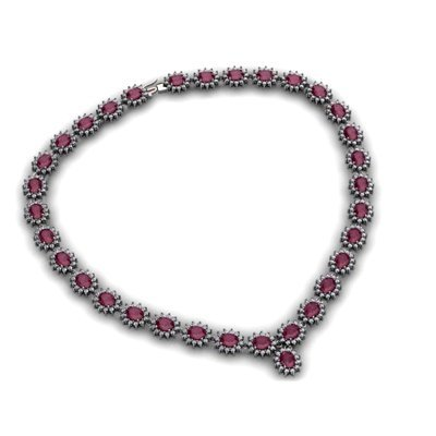 Ruby 58.80 ctw Diamond Necklace 14kt White Gold