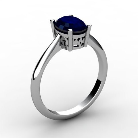 Sapphire 1.00 ctw Ring 14kt White Gold