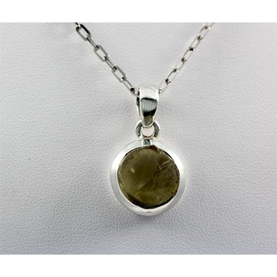 20.ctw Uncut Gemstone in Silver Pendant