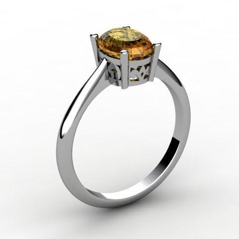 Citrine 0.85 ctw Ring 14kt White Gold