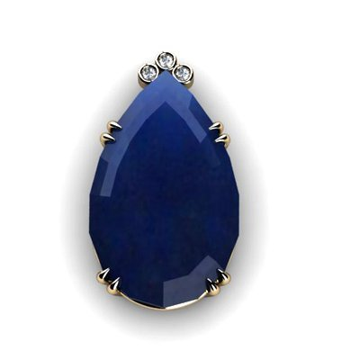 Sapphire Pear 55.92ctw Diamond Pendant 14k W/Y Gold
